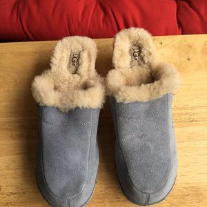 UGG Suede Mules Clogs Heel Shoes Sherpa Lined